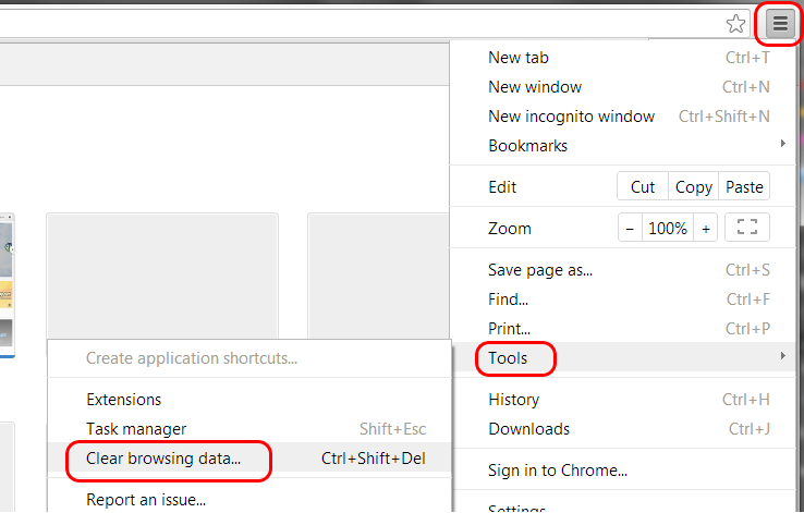Chrome Internet Options