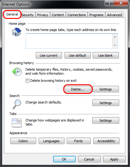 IE 8 Internet Options